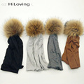 GZHilovingL 2016 Winter Slouch Beanie Womens Hats With Natural Fur pompoms Soft Baggy Slouchy Polyester Beanies Hats For Womens