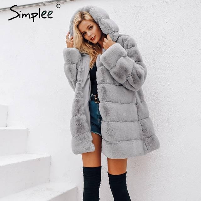 bbd903d73121b Online Shop Simplee Vintage fluffy hoodie faux fur coat women Winter grey  jacket coat female Plus size warm long casual outerwear overcoat