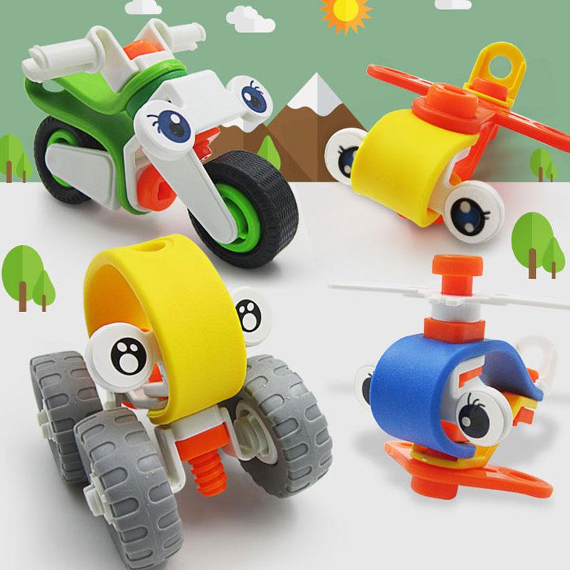 Gekwalificeerd Eduactional Kinderen Speelgoed Schroef Moer Diy Hand Made Blauw Geel Groen Motorbike Voertuig Puzzels Kids Jongens Meisjes Cool Speelgoed Hobby