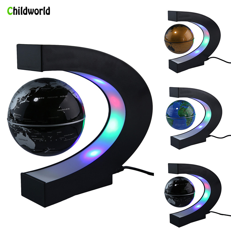 US/UK/EU/AU Plug Fashion Home Decoration LED Floating Tellurion C-shaped Magnetic Floating Float World Map Desktop Gift ...