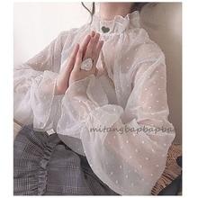 Японская Милая рубашка Лолиты с волнистыми точками, прозрачное кружево, кавайная Повседневная рубашка в викторианском стиле, готический Топ Лолиты, лоли, косплей
