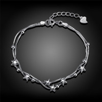 925 Sterling Silver Star Pendant Charms Bracelets For Women Fashion Bangle Gift Infinity Trendy Bracelets Bangles