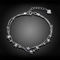 925 Sterling Silver Star Pendant Charms Bracelets For Women Fashion Bangle Gift Infinity Trendy Bracelets Bangles