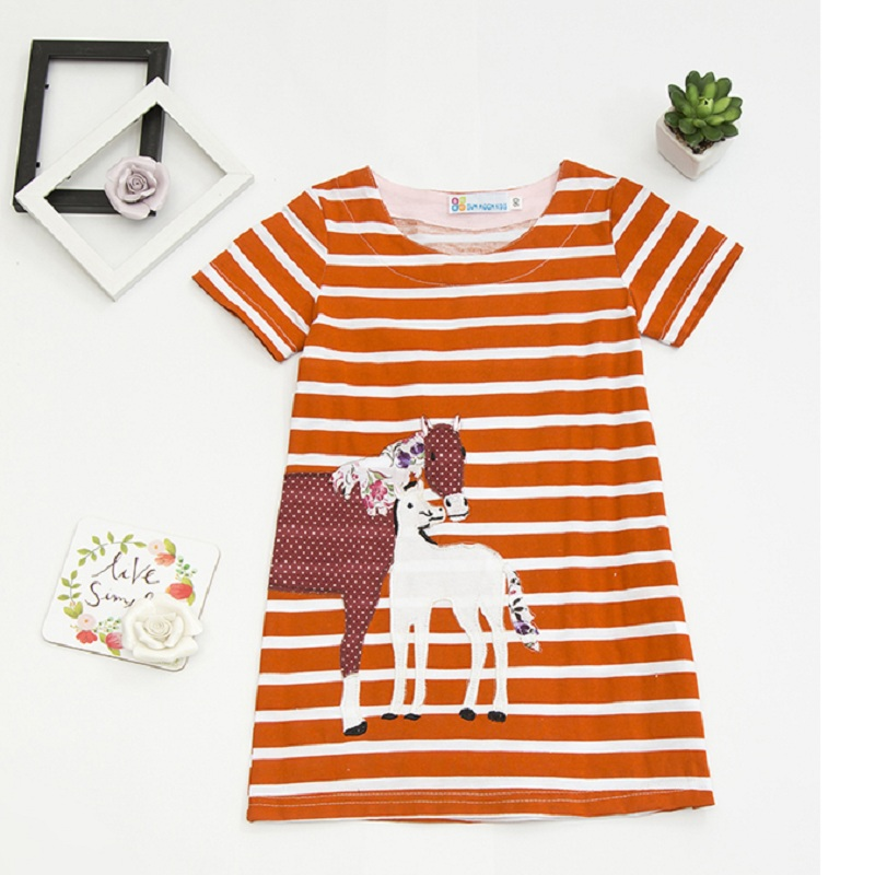 Embroidery horse baby girl dress cotton blouses