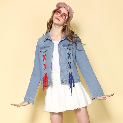 Imprimé Vestes Bf 2018 Up Dentelle Style Jeans Manteau Lâche Printemps Femme Court Denim Revers Lettre Bleu Femmes Veste Jean Harajuku q6ffp0wxB