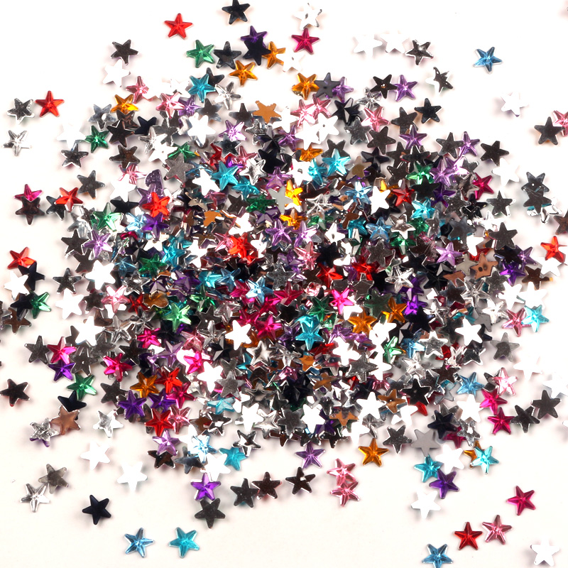 1000Pcs Mixed 6mm Star Acrylic Rhinestone Cabochon Flatback Decoration Crafts Embellishments For Scrapbooking Diy Accessories
