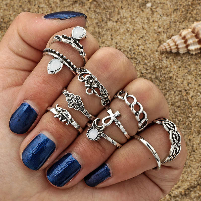 10pcs/set Vintage Ethnic Bohemian BOHO Ring Hollow Geometric Moon Elephant Flower Punk Joint Ring Women Finger Jewelry Wholesale