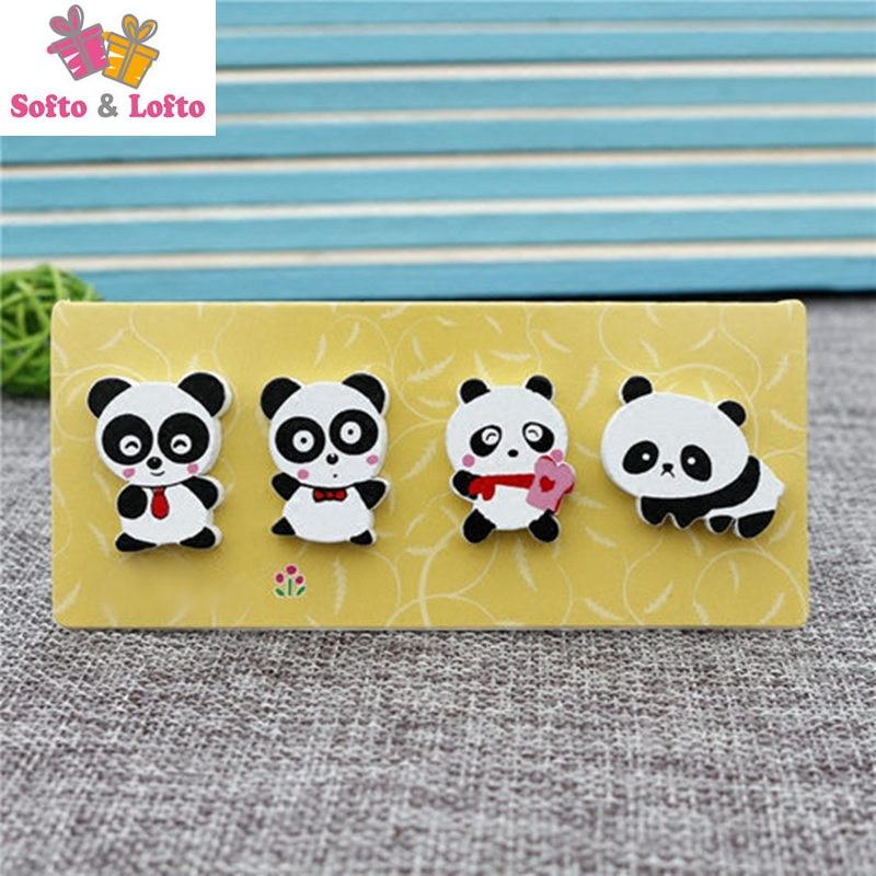 4pcs Wooden cartoon panda bear magnetic stickers/Children animals creative gift painting toys/wood fridge magnets kids handwork
