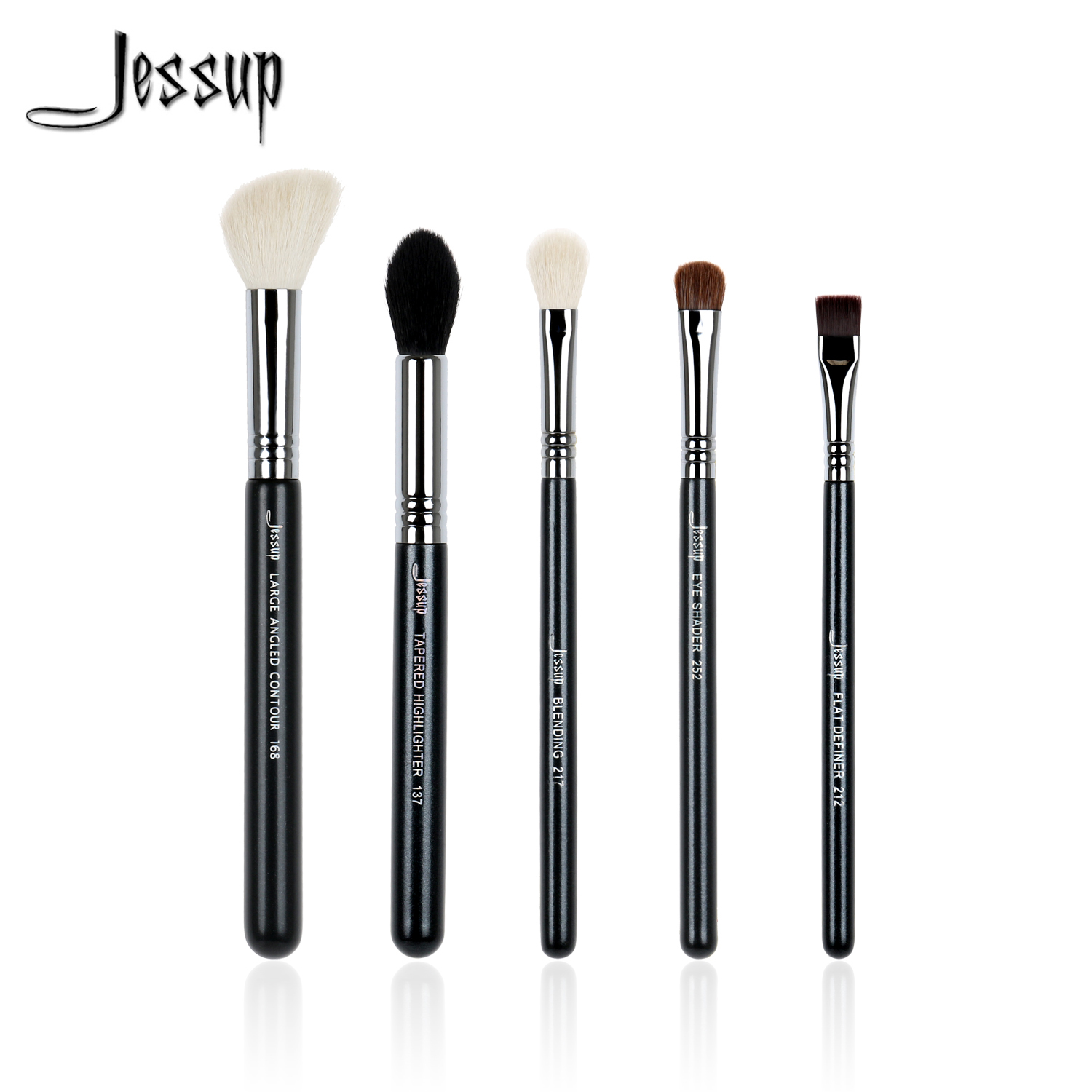 Jessup 5pcs High Quality Pro Makeup Brushes Set Foundation Blend Contour Eye shadow Nightlife Make up brush Tools beauty Kits creativity essential oil blend true botanical 100% pure and natural undiluted high quality therapeutic grade blend of rosemary clary sage hyssop marjoram cinnamon 5 ml