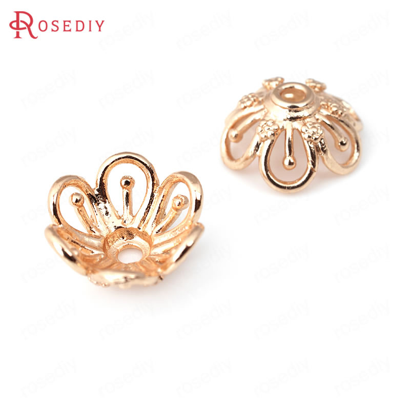 (31992)10PCS 14MM 24K Champagne Gold Color Plated Brass Beads Caps High Quality Diy Jewelry Findings Accessories Wholesale