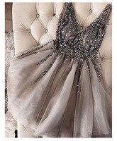 2019 New Fashion Sexy Short Prom Dress V neck Sparkle Crystal Beaded Evening Dresses A Line Robe Cocktail Dress Vestidos Coctel