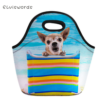 ELVISWORDS Insulated Lunch Bag for Kids Lovely Beach Dog Printed Box Women Tote Girls Picnic Snacks Container Packeed