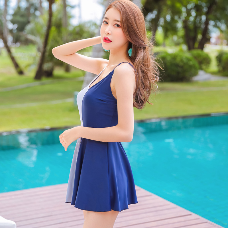 Summer 2018 New Sexy M-XXL blue patchwork Swimwear Push Up Pleated Skirt one piece swimsuit Asia Beach women's swimming suit asia blue card 100g