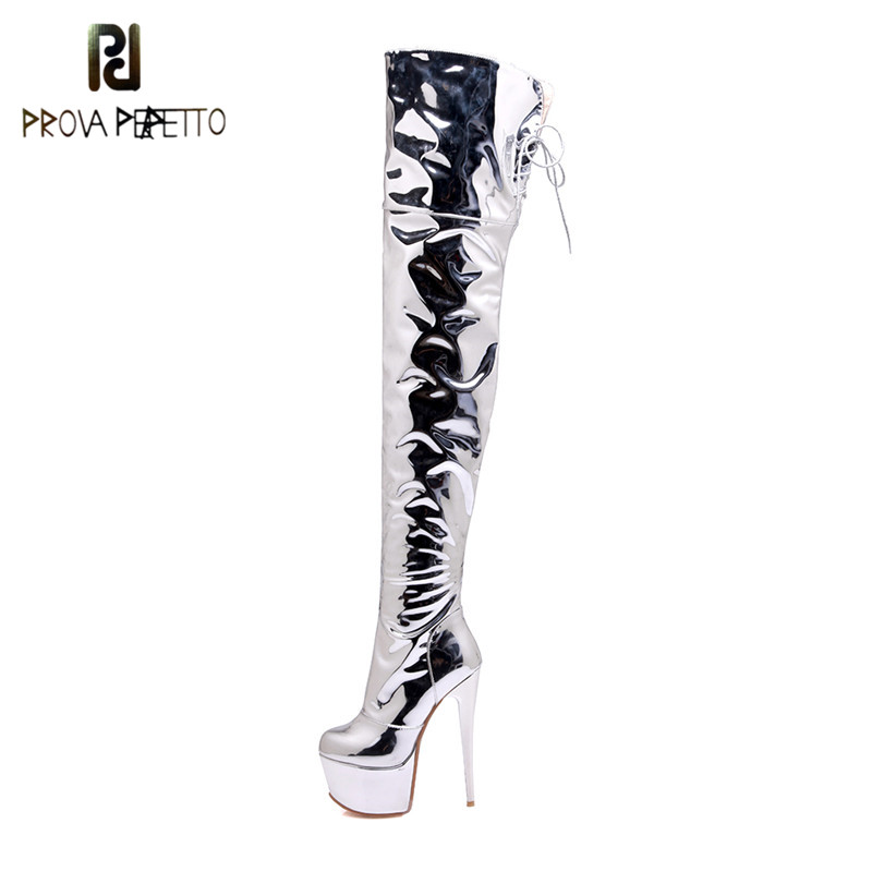 Plus size 48 Over Knee Boots <font><b>Sexy</b></font> <font><b>Fetish</b></font> Dance Nightclub Party <font><b>Shoes</b></font> High Heel Platform Women Silver Thigh High Boots Mujer image