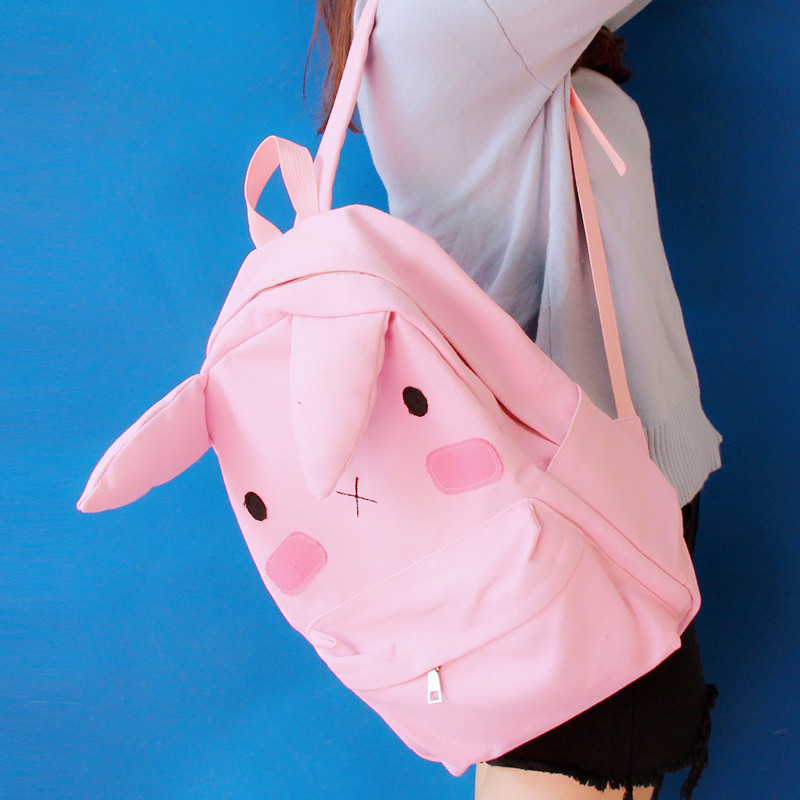 Men's Bags Japanese Cute Ear Canvas Girl Street Shooting Student Bag Casual Large Capacity Travel Backpack Laptop Backpack Teen Backpack Backpacks