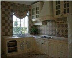Дубовые Деревянные ПВХ/виниловые кухонные шкафы (LH-SW047)
