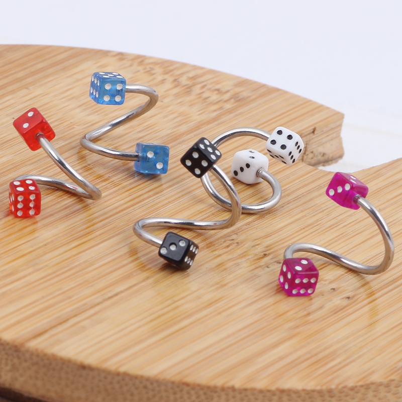 Dice Acrylic Surgical Steel Spiral Twister Rings Lip Ring Ear Ring Labret Rings Body Piercing ombligo Jewelry