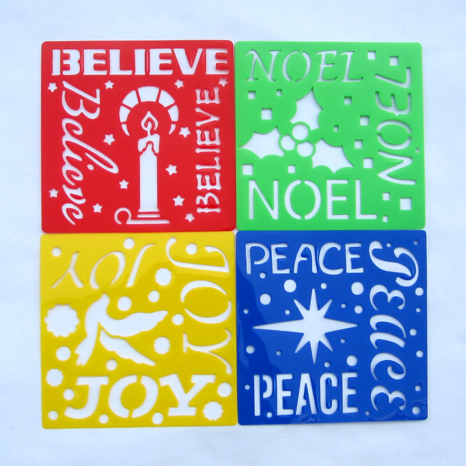 4Designs Stencils Holiday words Kids drawing templates Plastic painting boards DIY baby children hot educational toys 152mm