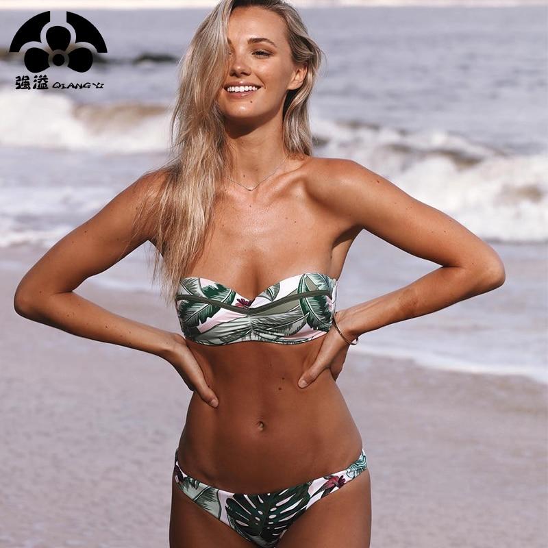 2019 Push Up Bikini Set Sexy Swimwear Women Swimsuit Female Bandeau Halter Bathing Suit Swimsuits Separate Leaf Print Brazilian