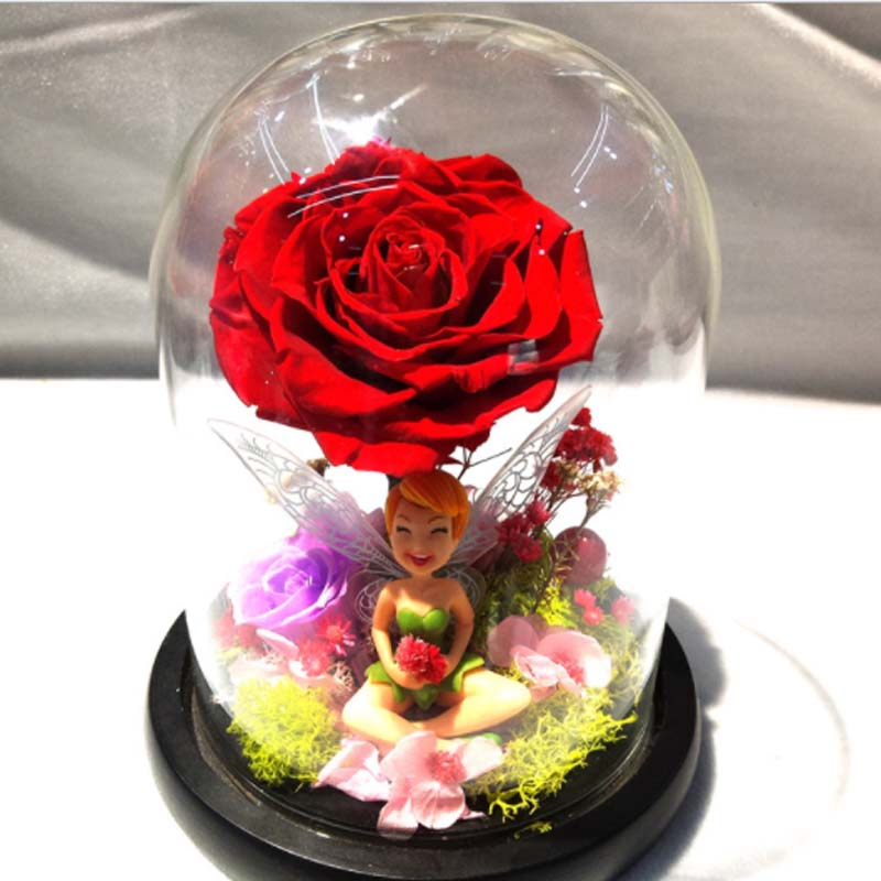 3Colors,Prince Glass Cover Fresh Preserved Rose,Fairy Garden Miniatures,Eternal Roses For Wedding,Home Decoration,Valentine Gift