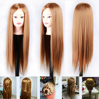 24 Long Golden Hair Training Head Female Dolls Head With Hair Manikin 100 Heat Resistant Synthetic