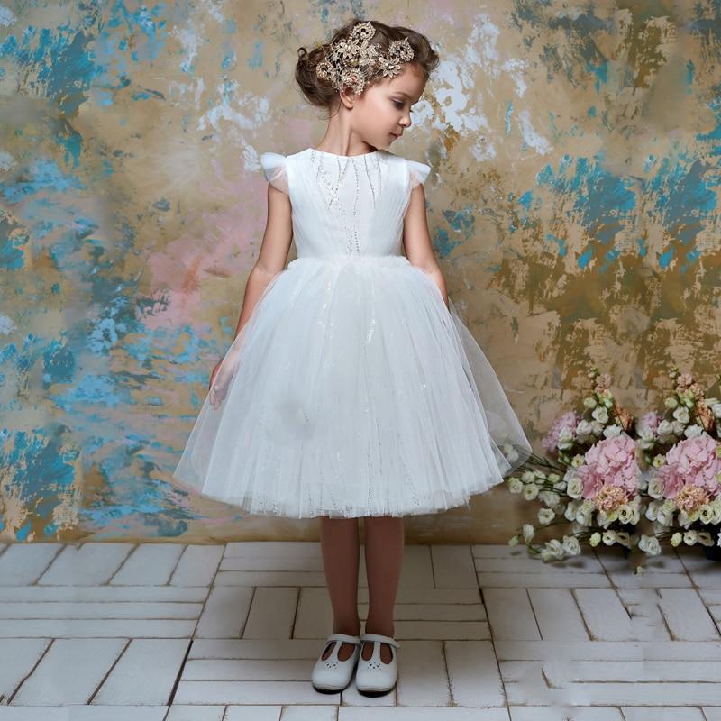 New Girls Tulle O-neck Flower Sleeves Ball Gowns Flower Girl Dresses Knee Length Princess Birthdays Party Wedding Gowns цена 2017