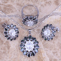 Sparkly Rainbow Mystic White CZ Silver Jewelry Sets Earrings Pendant Ring Size 6 / 7 / 8 / 9 / 10  S0430