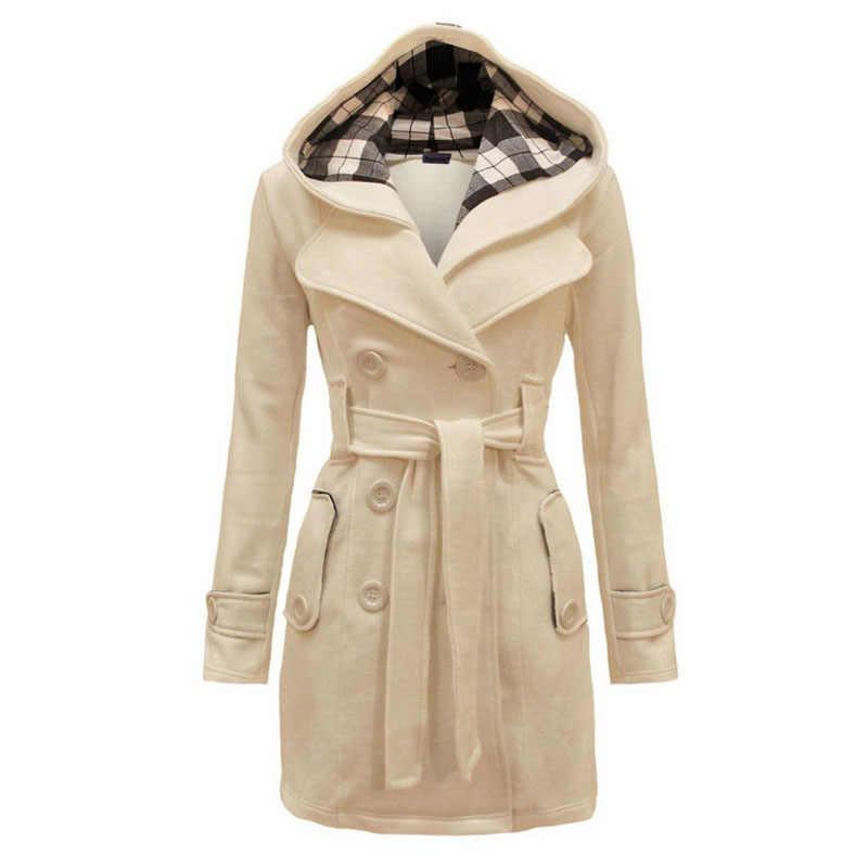סתיו החורף חדש ברדס משובץ רכיסה כפולה החגורה של גדולות גודל נשים מעיל ארוך מעיל נשי מעיל צמר חיקוי XXL, XXXL