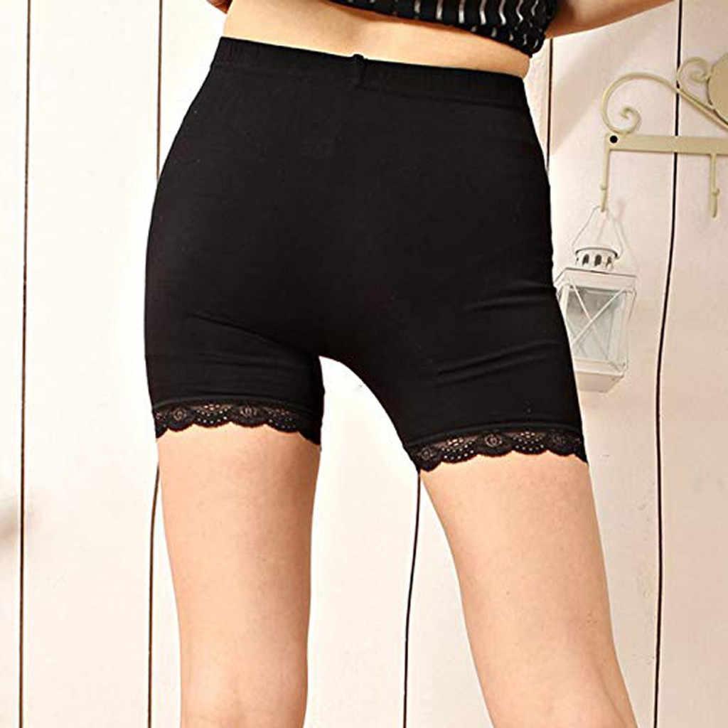 Kobiet jednolity kolor elastyczny pas krótki Femme Sexy koronki obcisłe szorty cienkie wysokiej talii Spodenki dla kobiet Spodenki Damskie @ 20