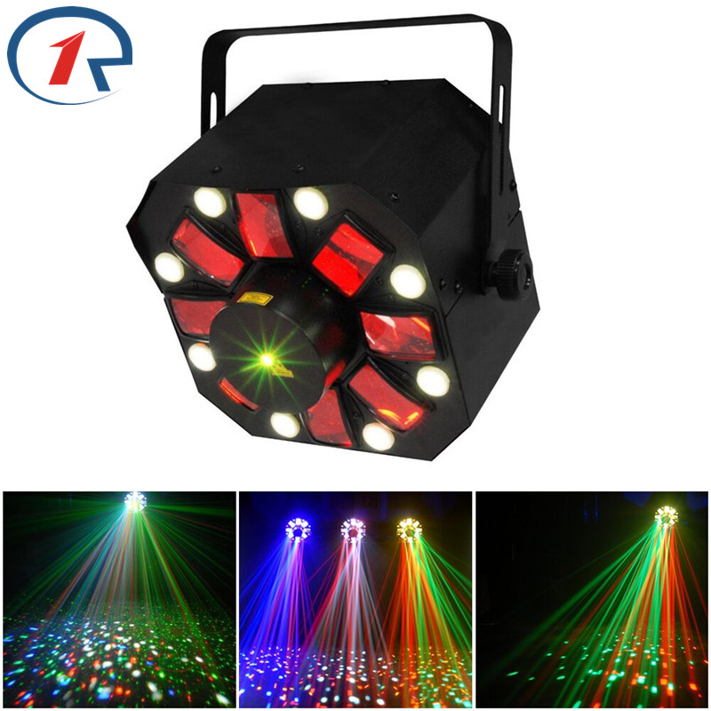 ZjRight 3 in 1 Laser/Strobe/Rotating Derby effect stage lighting Moonflower RG Laser Light 8 LED Strobe for dj bar disco concert laser head kss 151a
