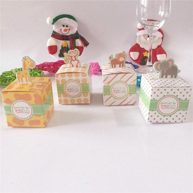 10pcs/lot DIY Baby Shower Favors Box Safari Animal Wild Favor Box Candy Box  Souvenir