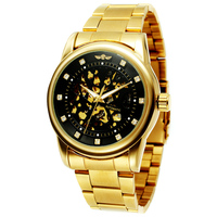 Men Watches Luxury Gold Black Skeleton Full Stainless Steel Automatic Mechanical Watch Male Diamond Dial Clock