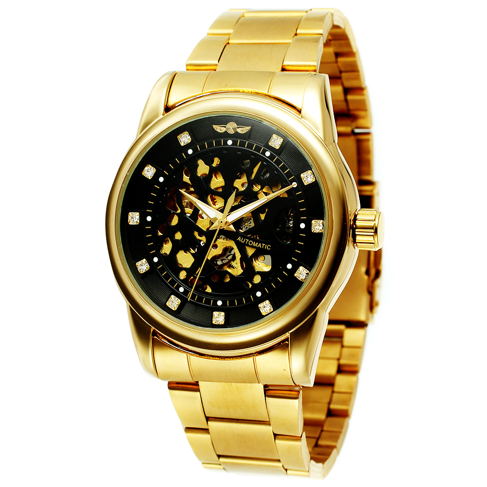 Men Watches Luxury Gold Black Skeleton Full Stainless Steel Automatic Mechanical Watch Male Diamond Dial Clock Relogio Masculino luxury men s gold full steel transparent watch skeleton automatic mechanical watches steampunk clock men relogio masculino 2015