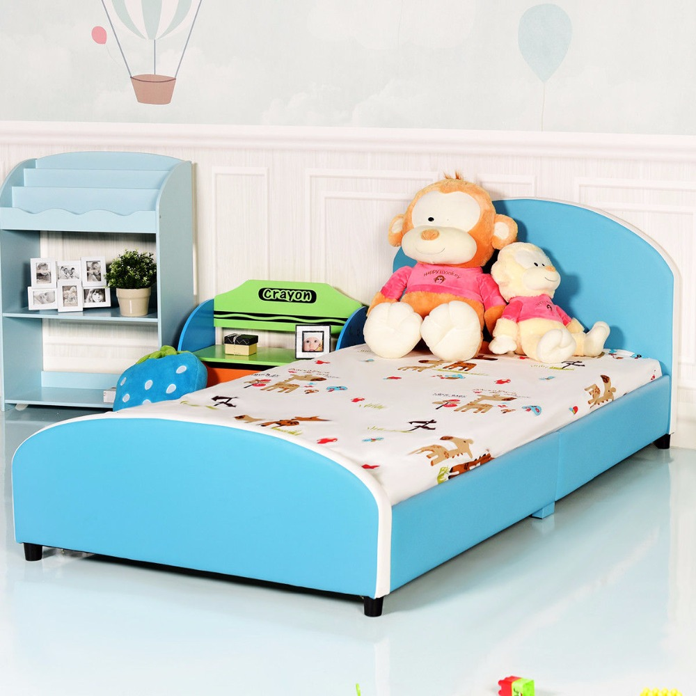 Giantex Kids Children PU Upholstered Platform Wooden Bed Bedroom Furniture Blue HW59102 стоимость