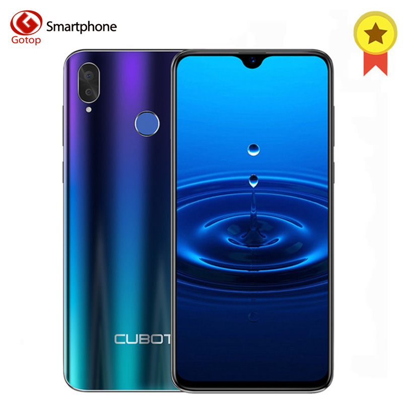 Cubot R15 Android 9.0 19:9 2GB 16GB MT6580P Quad Core Fingerprint Smartphone 6.26'' Water-Drop Screen Dual Back Cameras Celular