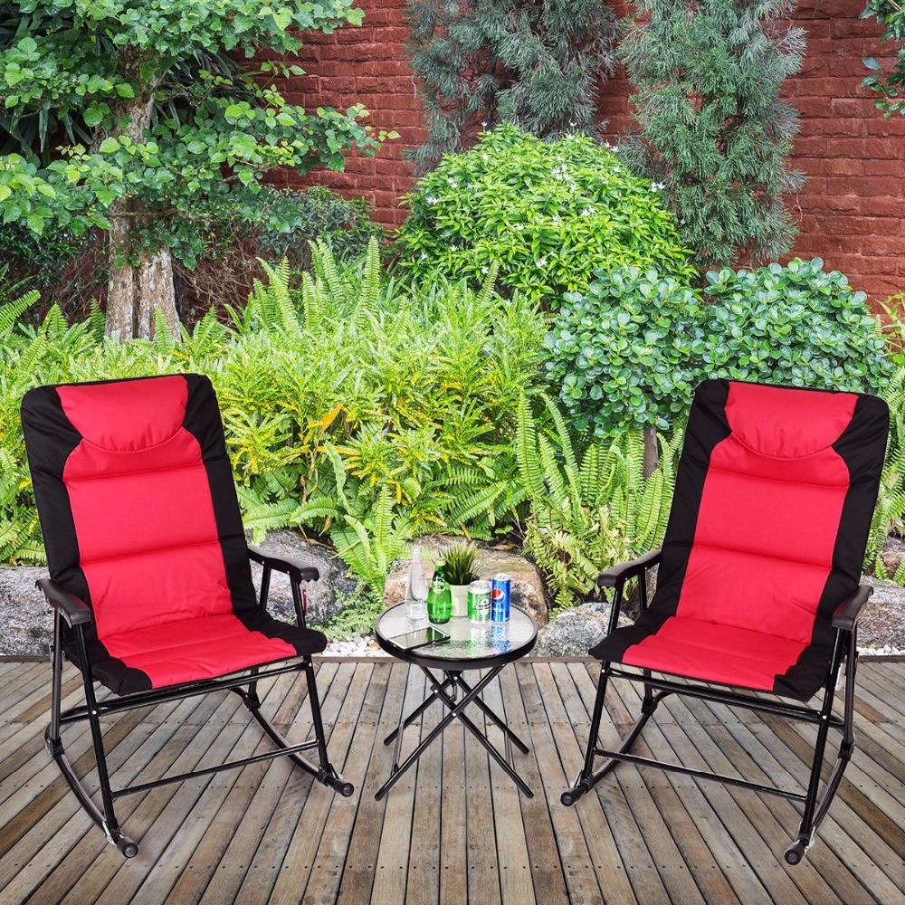 Giantex 3 Pcs Outdoor Folding Rocking Chair Table Set