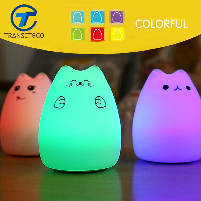 Led night light Colorful Cat Silicone LED Night Light Rechargeable Touch Sensor light Children Cute Night Lamp Bedroom Light night light switch night lights 3 6w plastic shade touch lamp ce rohs approved sensor night light