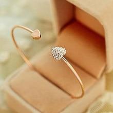 BAOPON regulowany kryształ podwójna kokarda z sercem Bilezik mankiet otwarcie bransoletka Hot New Fashion damska biżuteria na prezent Mujer Pulseras