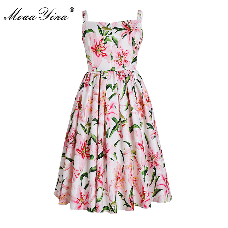 MoaaYina Fashion Designer Runway Dress Summer Women Spaghetti Strap Floral Print Casual Holiday Romantic Elegant Dress