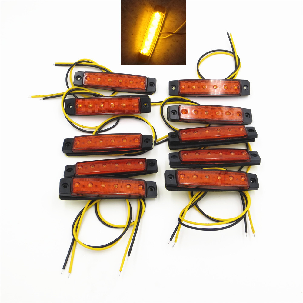 10Pcs 12V 24V 6LED Side Marker Indicators Lights Lamp For Car Truck Trailer Lorry Amber Clearence