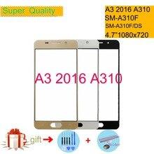 For Samsung Galaxy A3 2016 A310 SM-A310F A310F SM-A310F/DS Touch Screen Front Glass Panel TouchScreen Outer Glass Lens NO LCD сотовый телефон samsung sm a310f ds galaxy a3 2016 white
