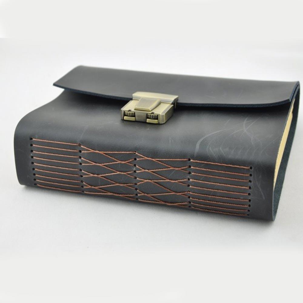 Diario de cuero genuino, diario secreto grueso con código de bloqueo y contraseña 18 CM * 13 CM * 4,5 CM