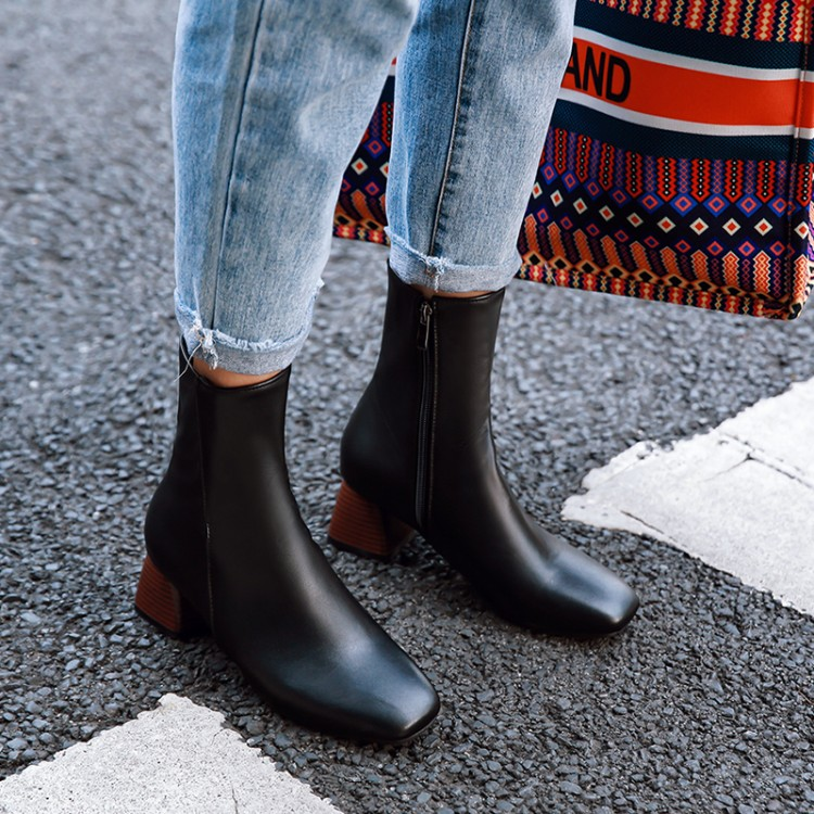 Big Size 11 12 13 14 15 16 17 18 19 Ladys square head medium thick heel short tube pure color contracted ankle bootsBig Size 11 12 13 14 15 16 17 18 19 Ladys square head medium thick heel short tube pure color contracted ankle boots