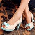 Горячая продажа! Большой размер 31-43 мода женская обувь твердые ИСКУССТВЕННАЯ кожа сладкий бантом украшение высокие каблуки небольшой размер 31 32 33 CHD-D21