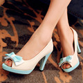 Hot sale!Big size 31-43 fashion women shoes solid PU leather sweet bowknot decoration high heels small size 31 32 33 CHD-D21