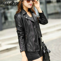 AILOOGE 2017 New Ladies Motorcycle Leather Jacket Black Slim High Quality PU Plus Size XXXXL XXXXXL Women Coat Veste Cuir