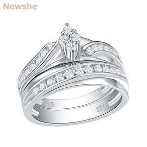 Image 1 - Newshe 2 Pcs 결혼 반지 세트 마름모꼴 모양 925 스털링 실버 라운드 컷 AAA CZ 영원 약혼 반지 QR104772