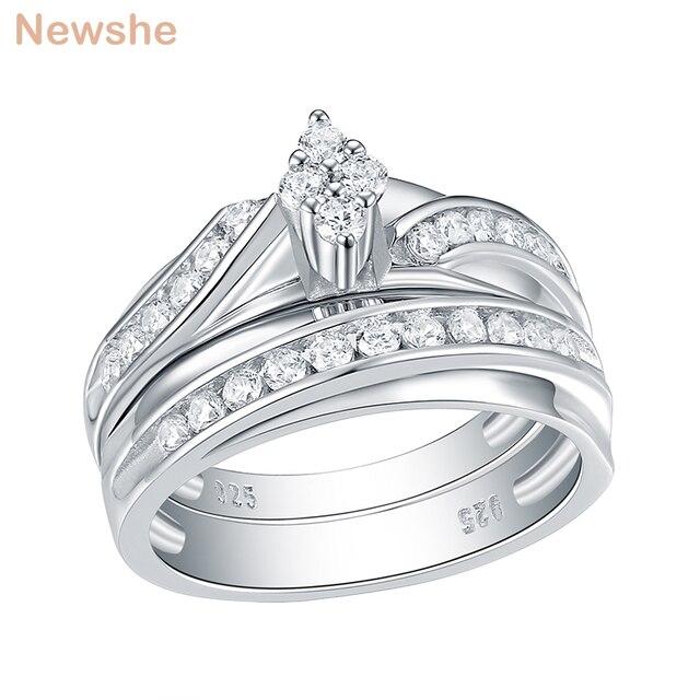 Newshe 2 Pcs 결혼 반지 세트 마름모꼴 모양 925 스털링 실버 라운드 컷 AAA CZ 영원 약혼 반지 QR104772