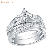 Newshe 2 Pcs Wedding Ring Set Lozenge Shape 925 Sterling Silver Round Cut AAA CZ Eternity Engagement Rings For Women QR104772