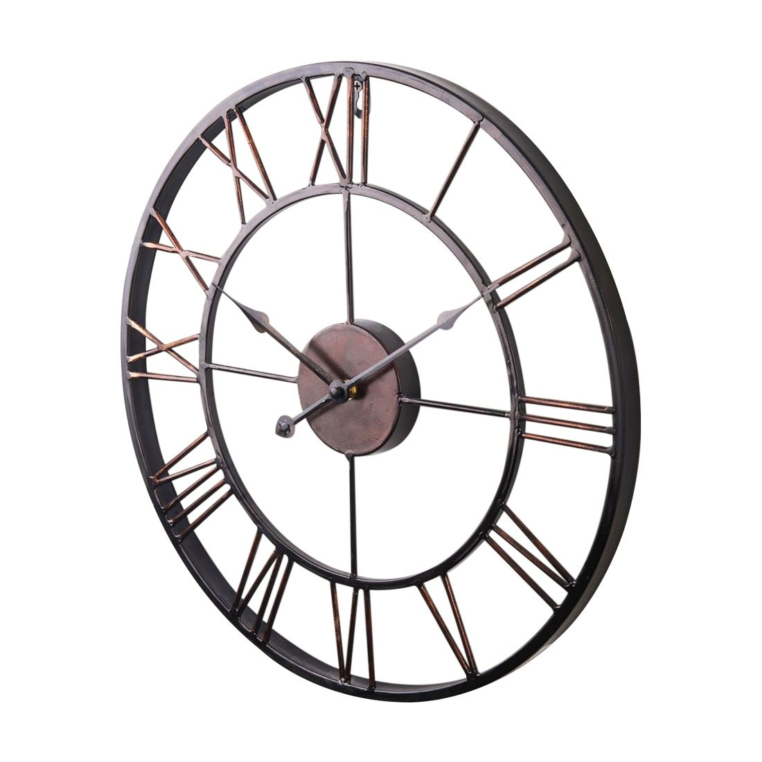 LHBL Extra Large Vintage Style Statement Metal Wall Clock Country Style - Chocolate color